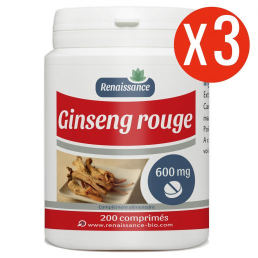 Ginseng Rouge - 600 mg - 200 comprimés x 3