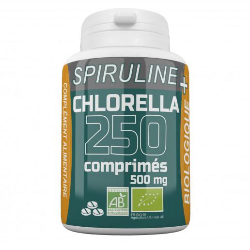 Spiruline + Chlorella Bio 500mg - 250 comprimés